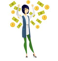Happy busiess woman under money rain vector