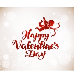 Happy Valentines Day greeting card Handwritten vector image