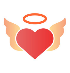 heart with pair of wings flat icon valentines vector image