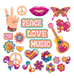 hippie icons signs peace love and music vector image