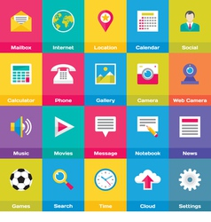 Icons Base Set in Flat Style Design vector image