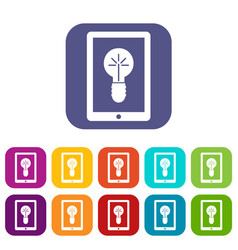 Idea lamp on gadget screen icons set vector