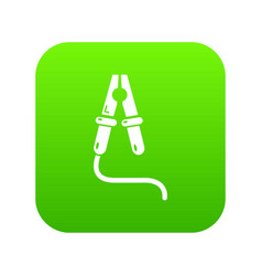 Jumper cable icon green vector