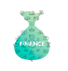 line icons in shape finance vector image
