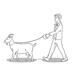 man and goat as pet coloring vector image