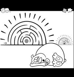 Maze activity game with sleeping bear vector