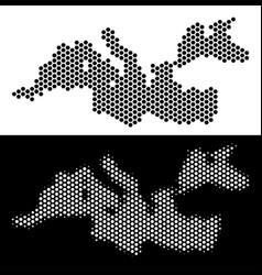 Mediterranean sea map hexagonal mosaic vector