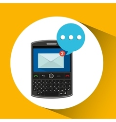 Mobile cellphone receive message icon vector