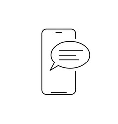 mobile phone chat message line icon linear style vector image