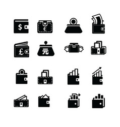 Money in wallet and status icon vector
