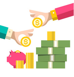 money symbol hands with coins wealth - savings vector image