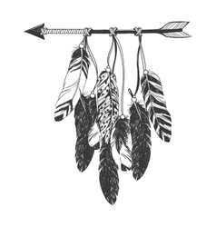 Native American Indian Dreamcatcher with feathers vector