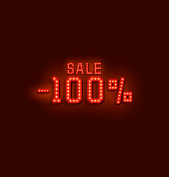 neon 100 sale text banner night sign vector image
