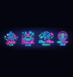Nightclub set of neon signs logo collection in vector