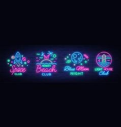 Nightclub set of neon signs logo collection vector