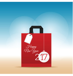 Paper bag red with happy new year 2017 on it vector