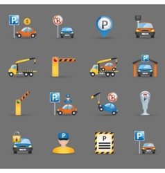 Parking facilities flat icons graphite background vector