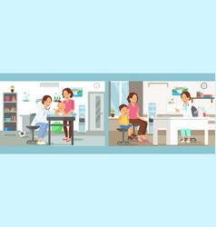pediatrics care clinic flat vector image