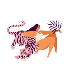 pink tiger and a woman relaxed inspirational vector image