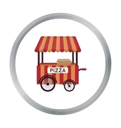 Pizza cart icon in cartoon style isolated on white vector