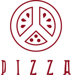 Pizza in peace symbol form design template vector