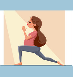 pregnant woman in prenatal yoga pose cartoon illus vector image