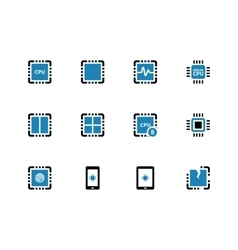 Processor unit duotone icons on white background vector image