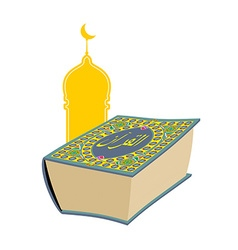 Quran Sacred book of Muslims Big thick book and vector image