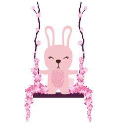 Rabbit swing with flowers vector