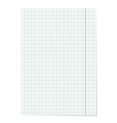 realistic checkered notebook sheet vector image