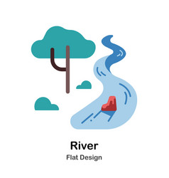 River flat icon vector