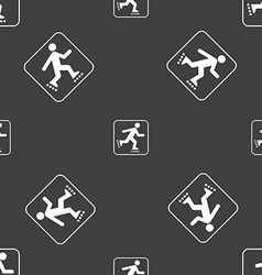 roller skating sign Seamless pattern on a gray vector image