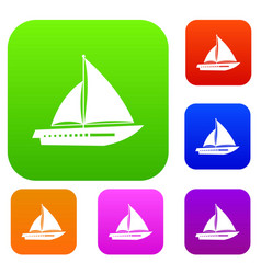 Sailing yacht set collection vector