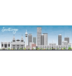 Santiago Chile Skyline with Gray Buildings vector image