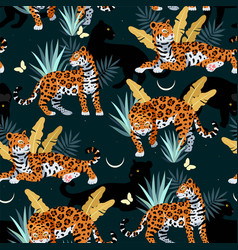 Seamless pattern with cute jaguar and palms vector