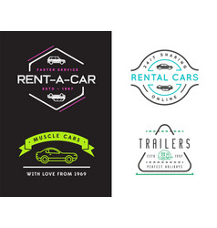 Set four car rental or car service signs vector