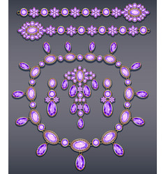set of jewelry made of gold and precious stones vector image