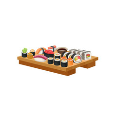 set of sushi on wooden plate japanese food asian vector image
