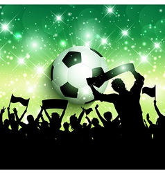 Silhouette of a football soccer crowd background vector image