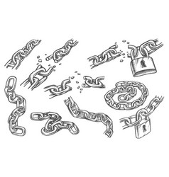 sketches chain links and lock bond and padlock vector image