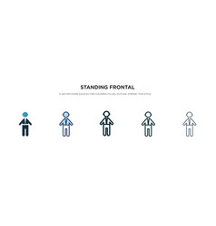 Standing frontal man icon in different style two vector