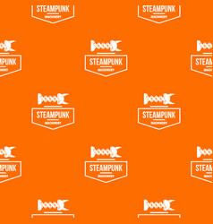 Steampunk machinery pattern orange vector