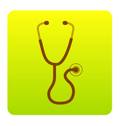 stethoscope sign brown icon vector image