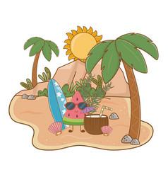 Summer and beach cute cartoons vector