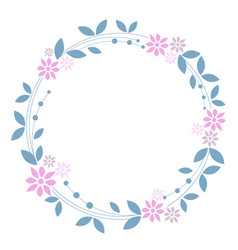 Sweet floral wreath on white background vector