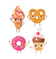 sweets collection of four various confectioneries vector image