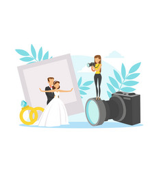 tiny romantic newlyweds standing together and vector image