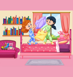 Two girls pillow fighting in bedroom vector