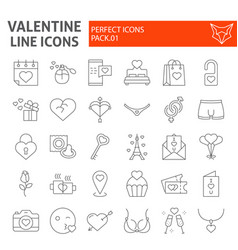 valentine thin line icon set romantic symbols vector image