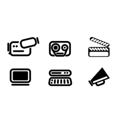 Video editor and converter icons set vector